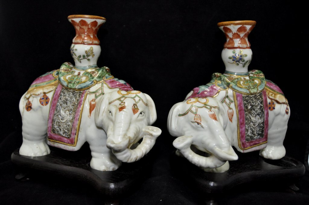 Pair Chinese Famille Rose Joss Stick Holders