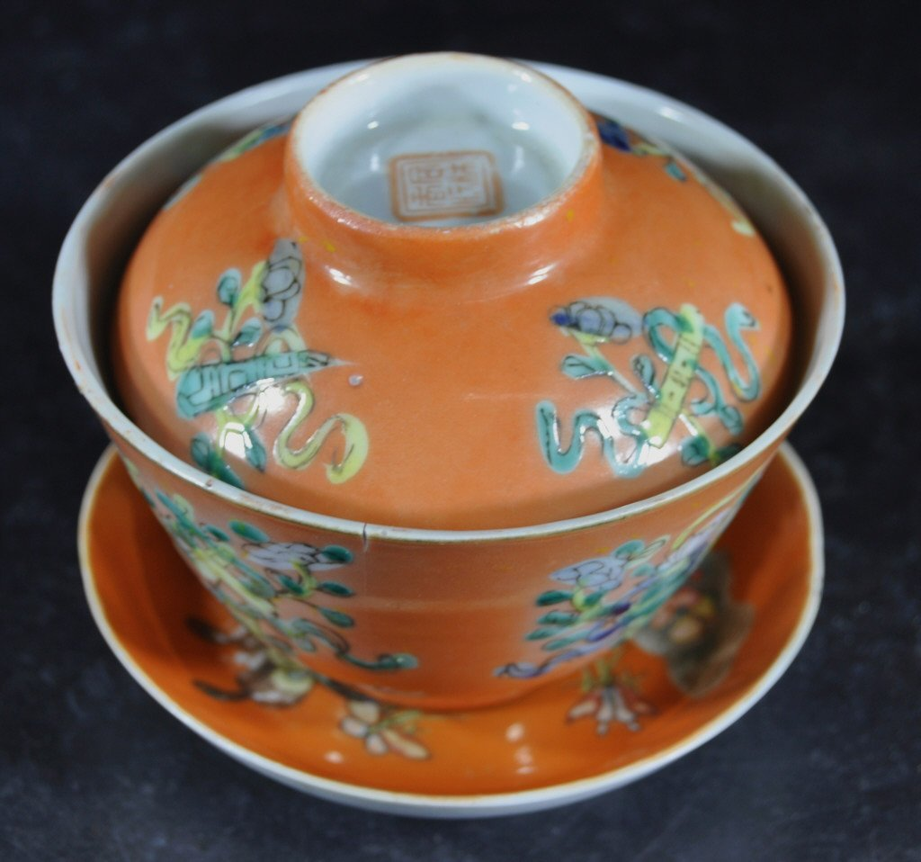 Chinese Coral Ground Porcelain Cup and Saucer