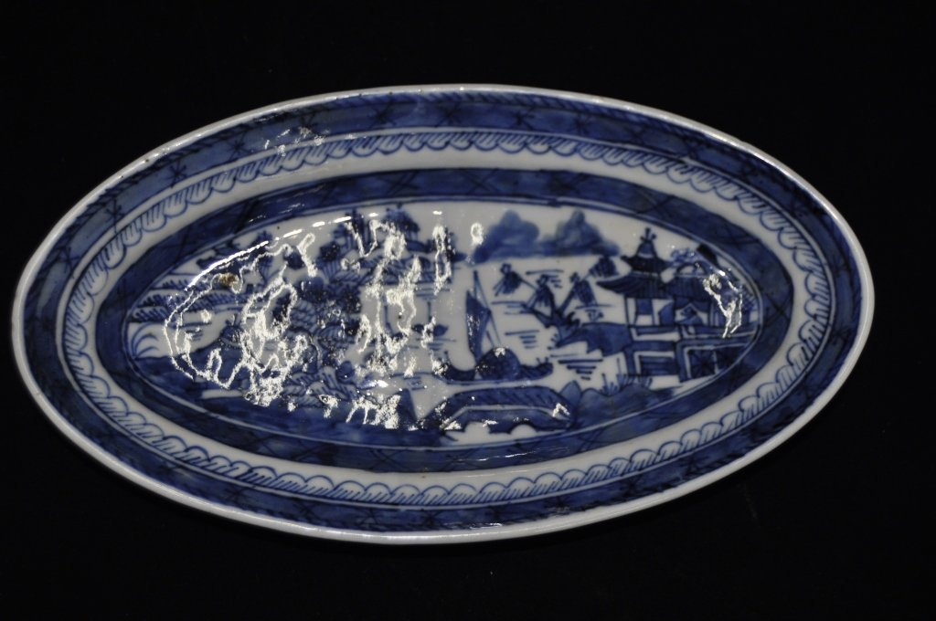 Chinese Blue & White Canton Porcelain Dish