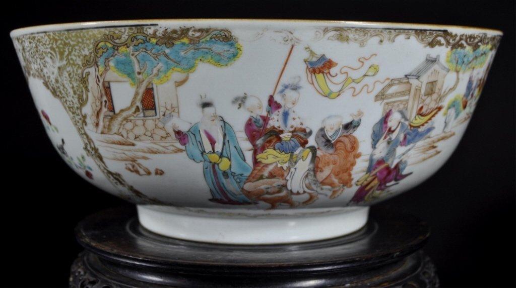 Chinese Qing Dynasty Rose Mandarin Porcelain Bowl