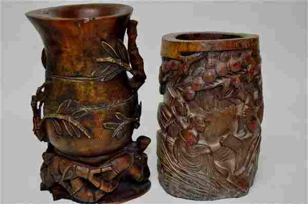Two Chinese Carved Bamboo Brush Pots