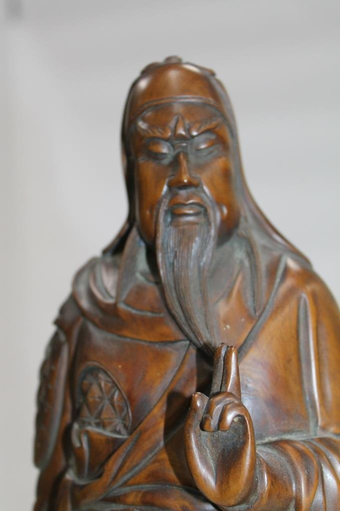 Chinese Carved Wood Figure - 3