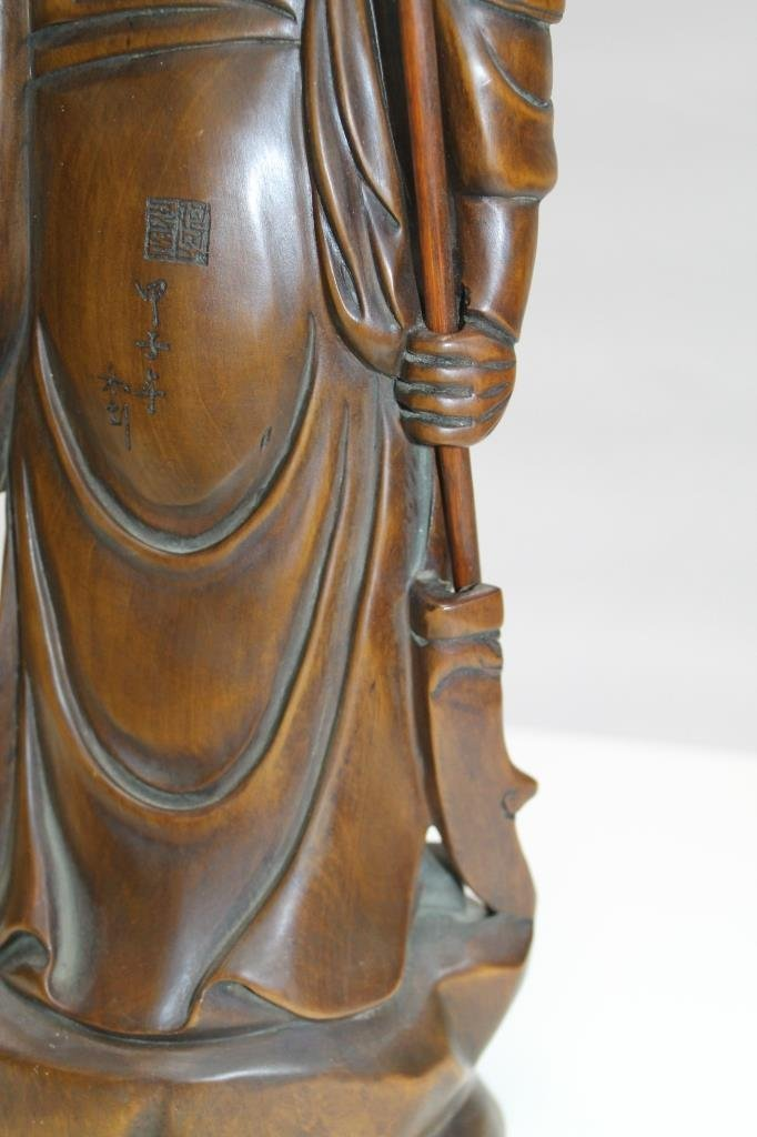 Chinese Carved Wood Figure - 5