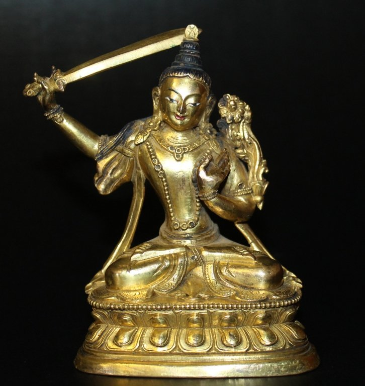 Antique Bronze Buddha w/ Gold Accents