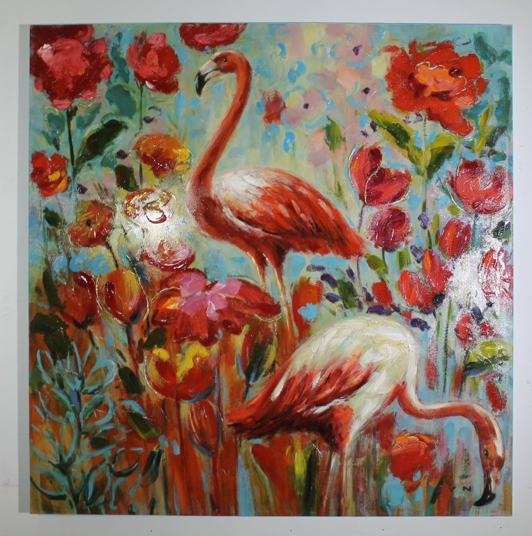 Oil on Canvas Painting - Flamingo