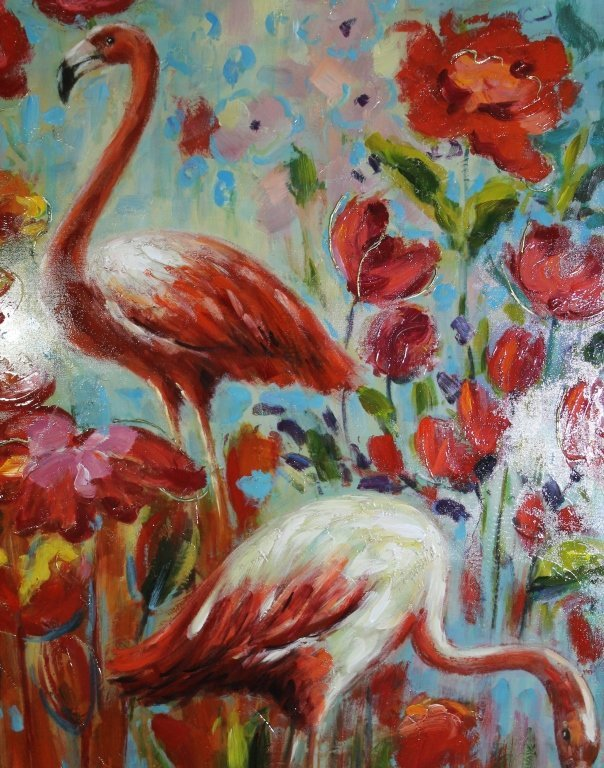 Oil on Canvas Painting - Flamingo - 2