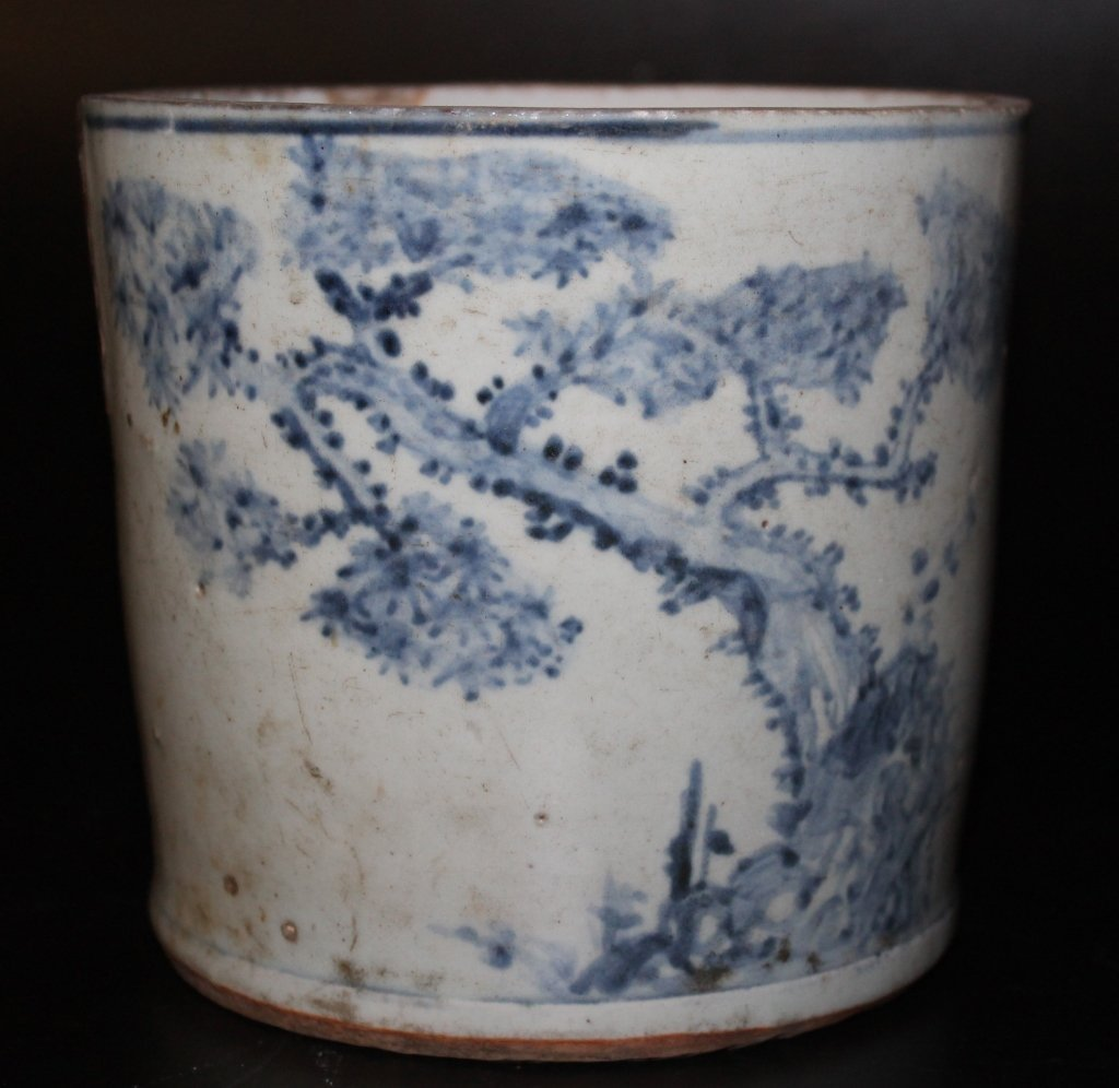 Antique Chinese B&W Brushpot
