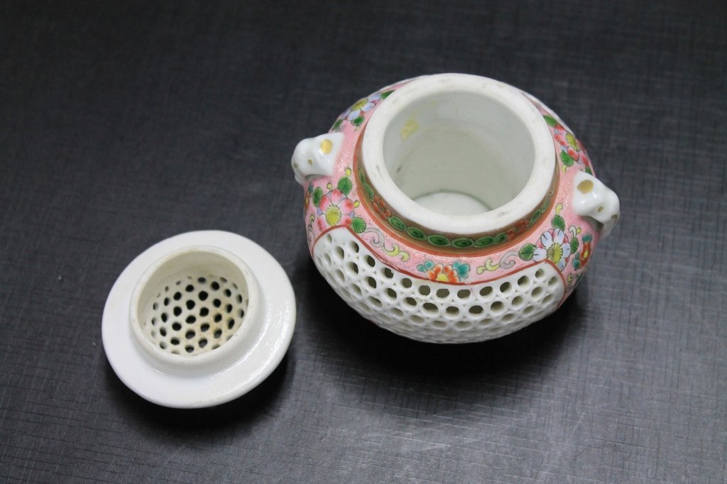 Reticulated Chinese Famille Rose Incense Burner - 3