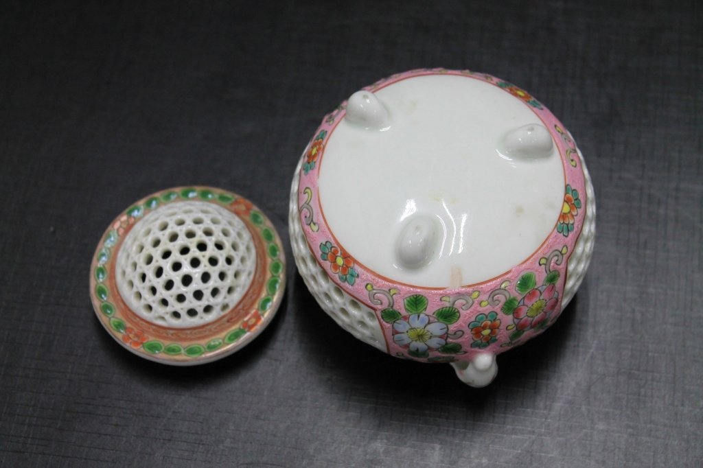 Reticulated Chinese Famille Rose Incense Burner - 4
