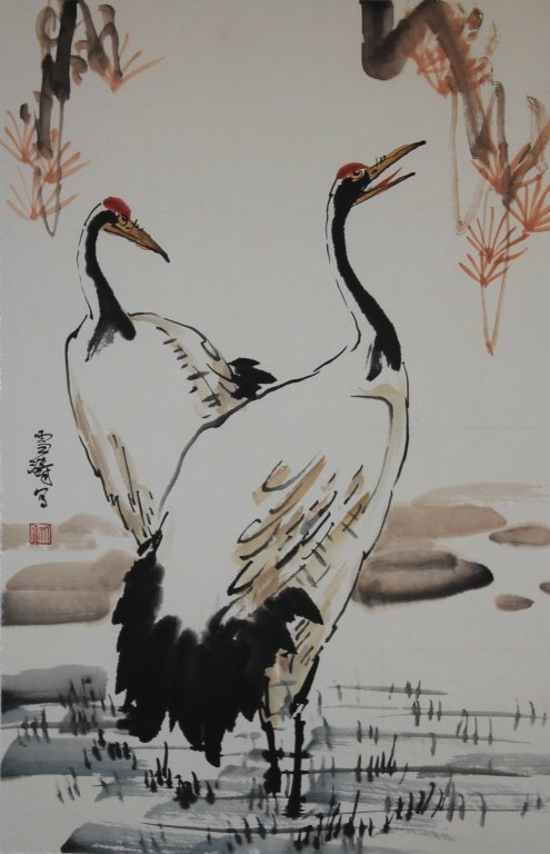Chinese Watercolor Painting - Cranes