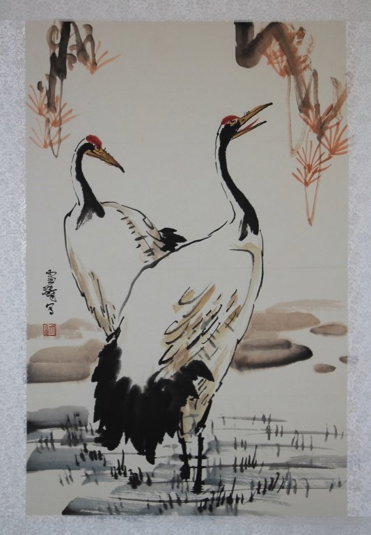Chinese Watercolor Painting - Cranes - 2