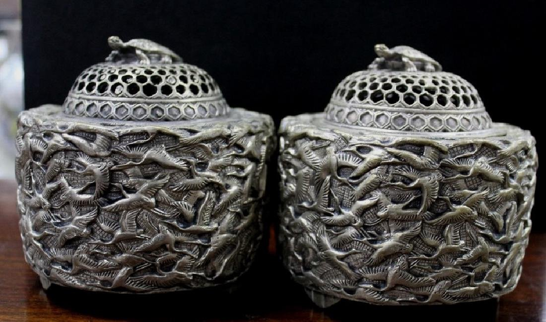 Lot of 2 Silver Chinese Incense Burners