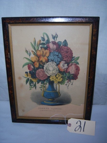21: Summer Flowers Currier & Ives (damaged glass)