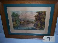"141: Moosehead Lake Currier & Ives, framed 20 1/4""x16"""