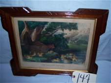 """147: The Anxious Mother Currier & Ives, framed 16""""x13"""""""