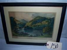 """150: Sylvan Lake Currier & Ives, framed 17 1/2""""x13 3/4"""""""