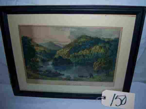 """Sylvan Lake Currier & Ives, framed 17 1/2""""x13 3/4"""""""