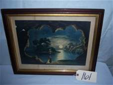"""The Magic Lake currier & Ives, framed 19 1/2""""x15 1"""