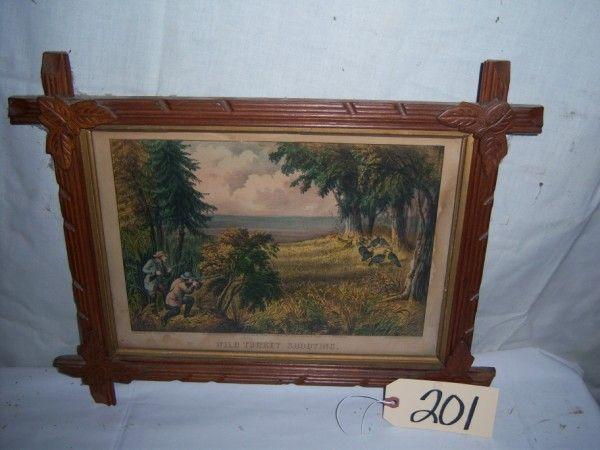 Wild Turkey Shooting Currier & Ives, framed 16 1/2