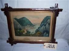 """202: Hudson River-Crow Nest Currier & Ives, framed 16""""x"""