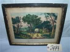 244: Harvesting, The Last Load Currier & Ives, framed 1