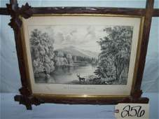 256: Moosehead Lake uncolored, Currier & Ives, framed 1