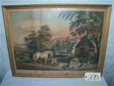 275 American Farm Scenes by N Currier framed 27x20