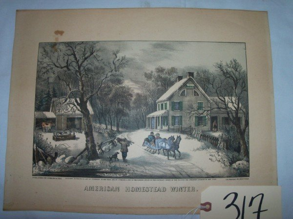 """317: unfr., """"american homestead, winter"""" Currier & Ives"""