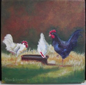 """1: Eileen Cooper (20th-21st c.).  """"Chickens,"""" acrylic o"""
