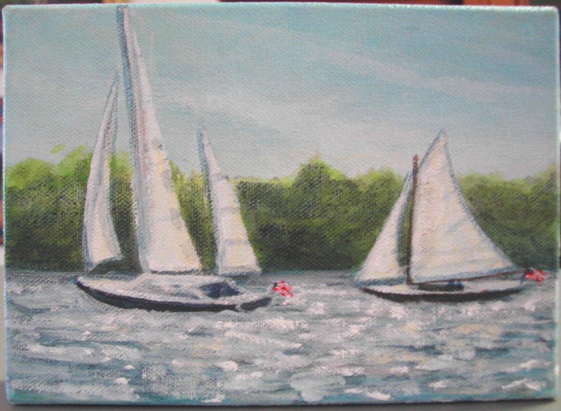 "2: Diane Alec- Smith (20th-21st c.).  ""Two Sails,"" acry"