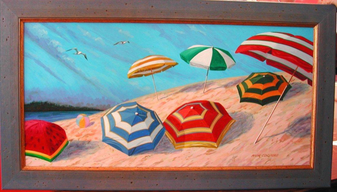 "8: Nick Cordone (20th-21st c.).  ""Beach Gossip,"" acryli"