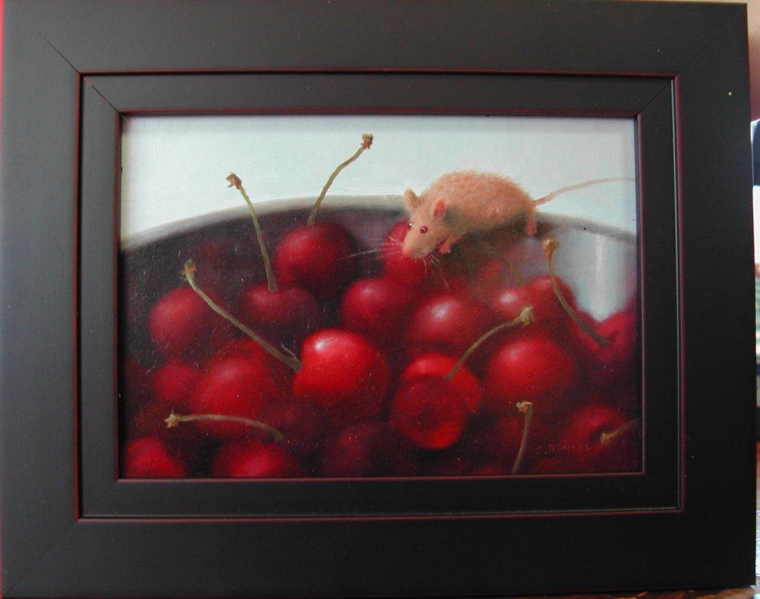 """12: Stuart Dunkel (20th-21st c.).  """"Cherry Hunter,"""" oil"""