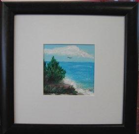 """13: Frances Liburt (20th-21st c.).  """"Beach,""""  acrylic o"""
