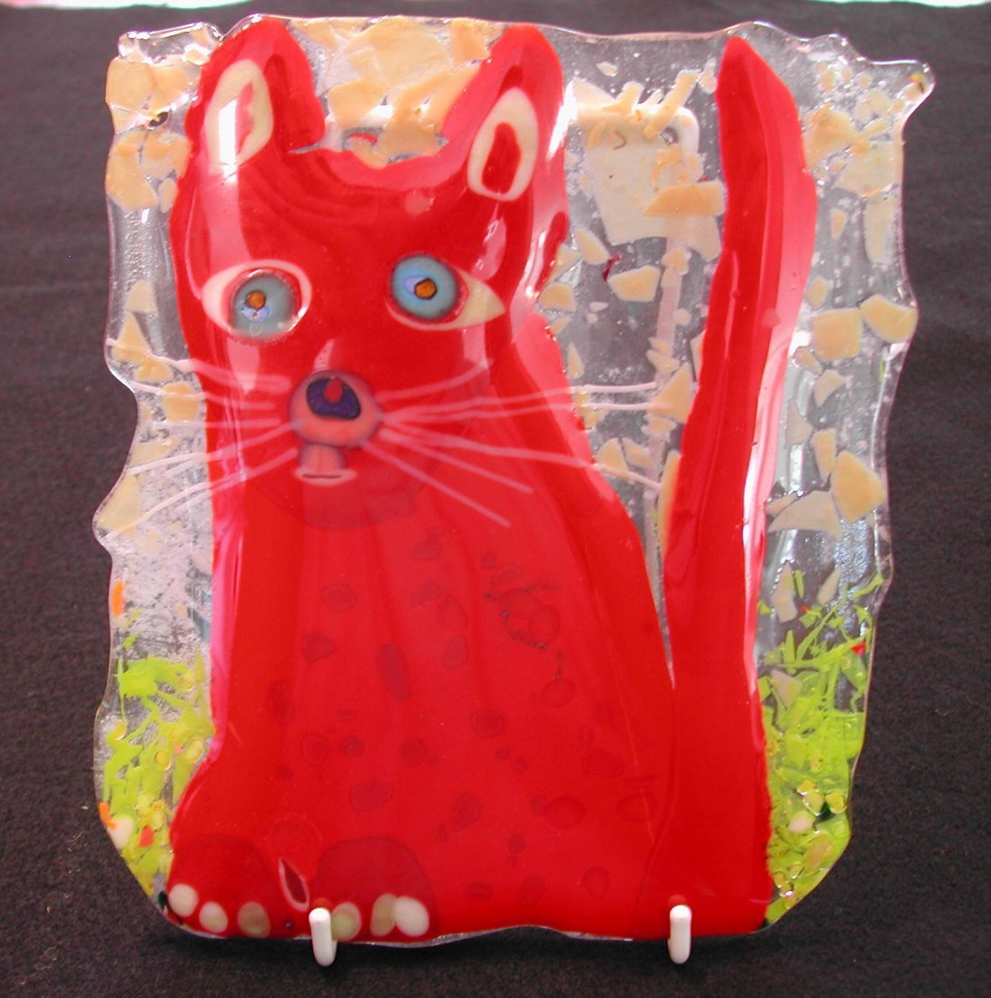 """14: Yan Rieger (20th-21st c.).  """"Cat 3,"""" fused glass, 7"""