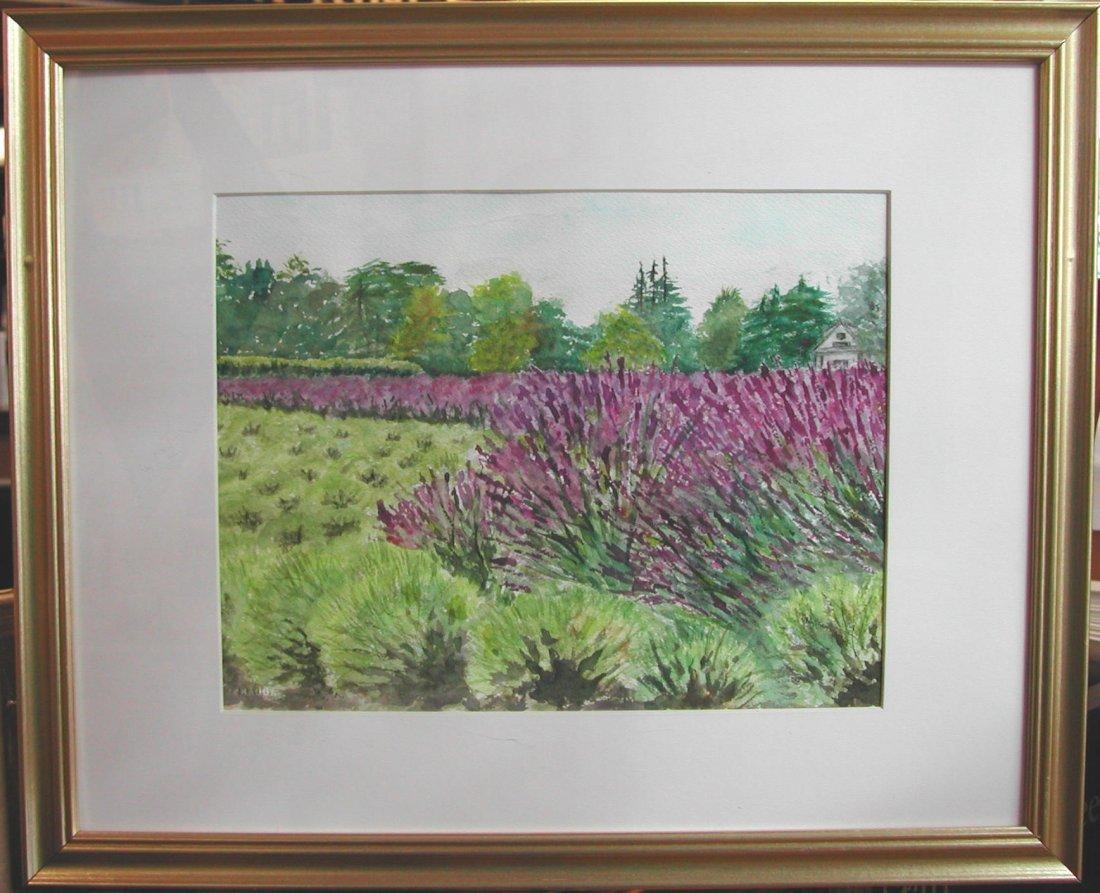 """Anne Katz (20th-21st c.).  """"Lavender Farm,"""" watercolor"""