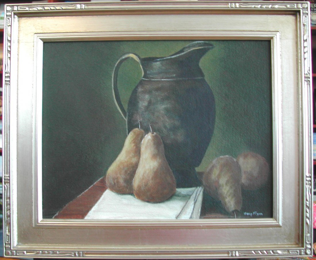 "Tracy Flynn (20th-21st c.)  ""Pears,"" acrylic on canvas,"
