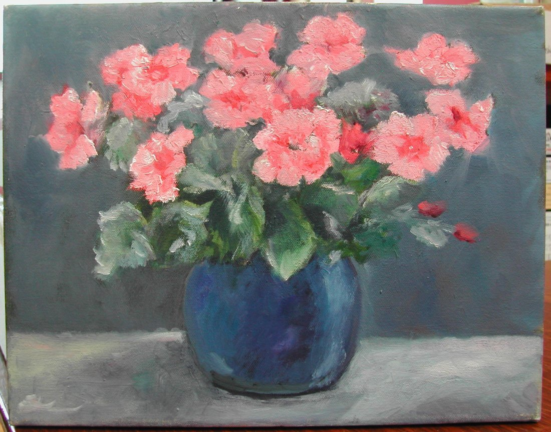 "Annie Martino Dilworth (20th-21st c.).  ""Flowers,"" oil"