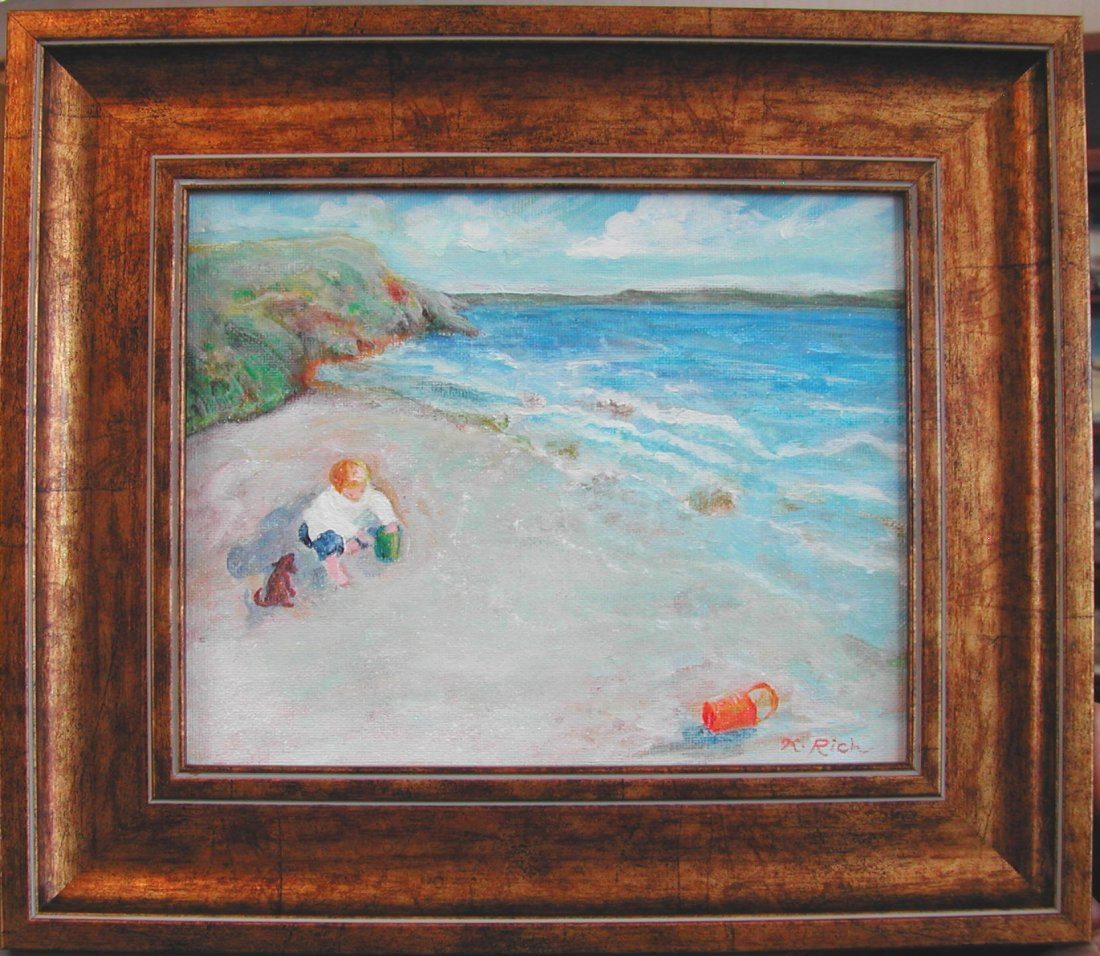 "Karen Rich (20th-21st c.) ""Boy on the Beach,"" acrylic o"
