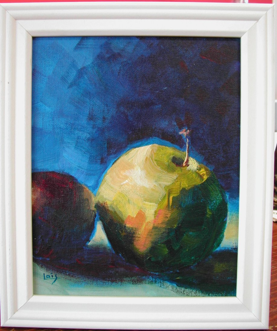 "Lois Levy (20th-21st c.).  ""Apple & Plum #1,"" acrylic o"