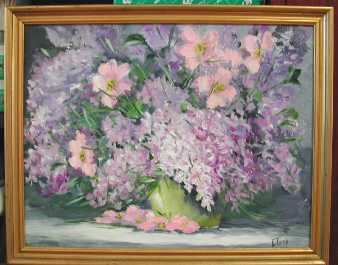 "Lucille Tully (1923-2002).  ""The Lilacs,"" acrylic on ca"