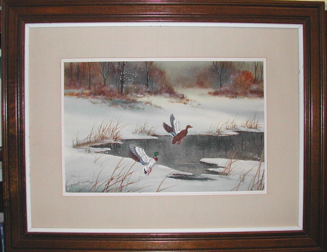 "Dorise Olson (b. 1932).  ""Ducks in Flight,"" watercolor"