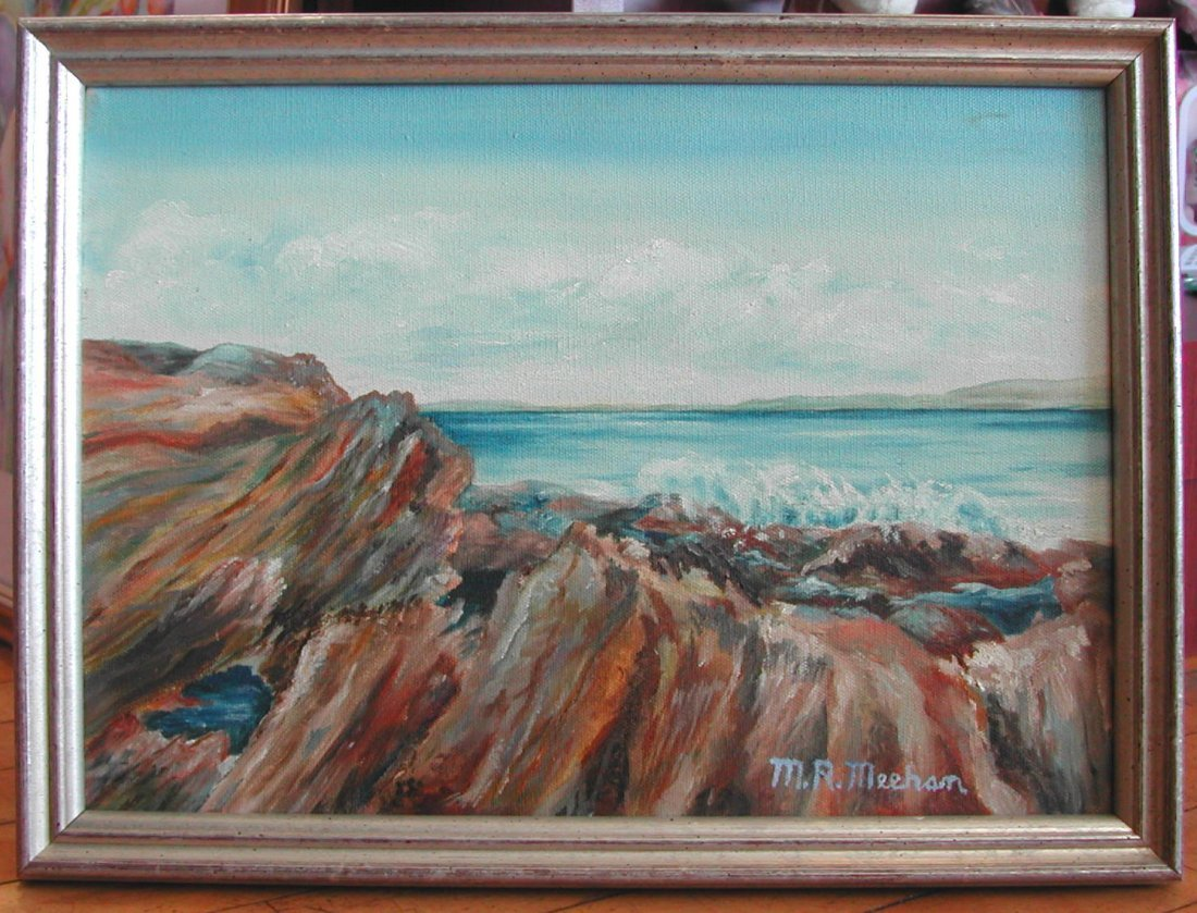 """Mike Meehan (20th-21st c.), """"Maine Rocks,"""" oil on"""