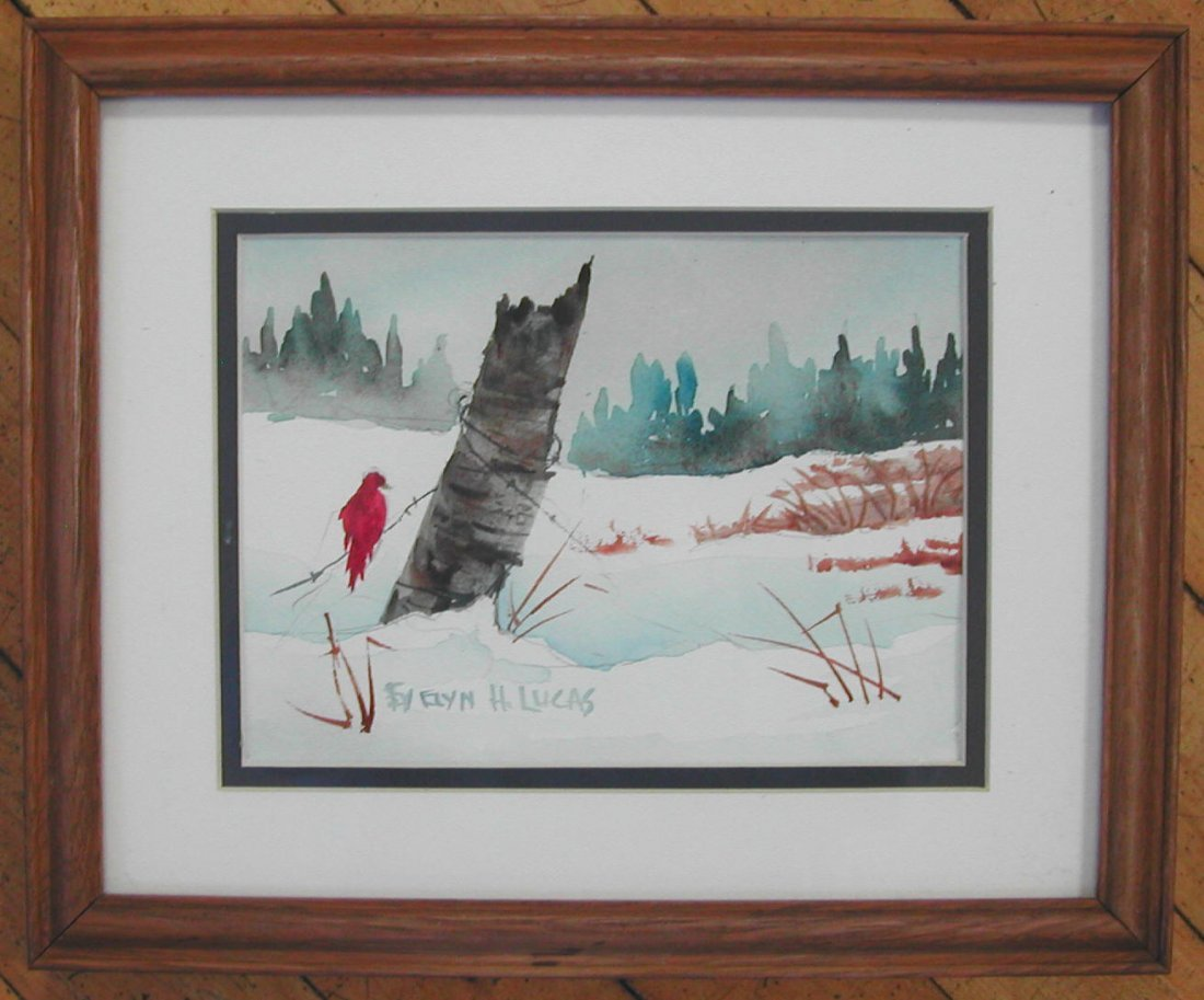 """Evelyn Lucas (20th-21st c.), """"Cardinal in Winter,"""""""
