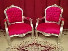 PAIR CHILD SIZE LOUIS XV STYLE ARM CHAIRS, SILVER GILT