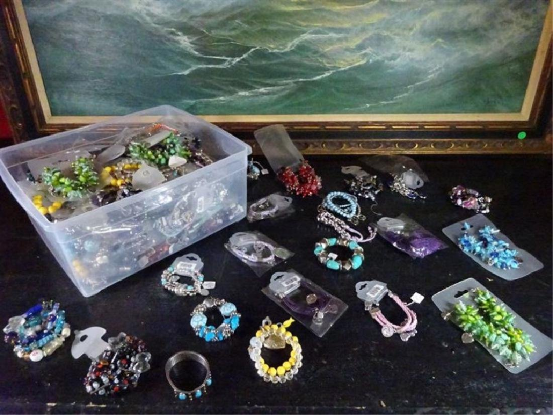 BOX LOT NEW COSTUME JEWELRY, BEADED BRACELETS AND