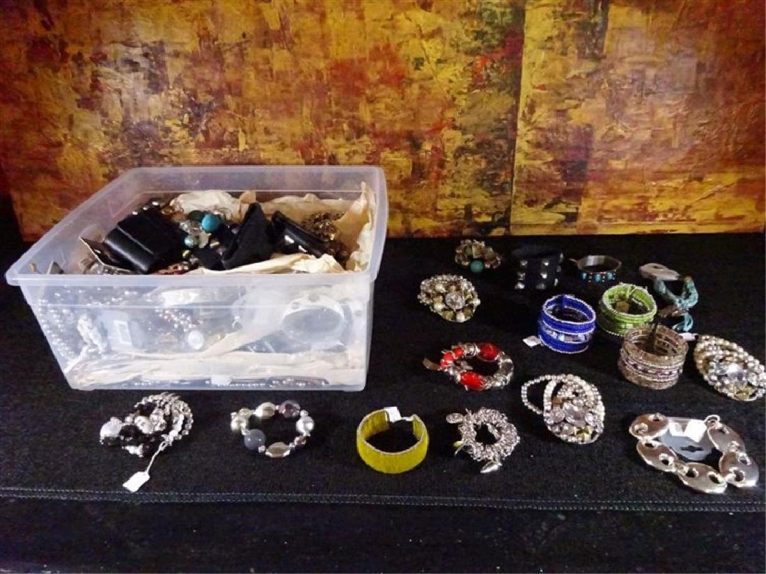 BOX LOT NEW COSTUME JEWELRY, BRACELETS AND CUFFS WITH