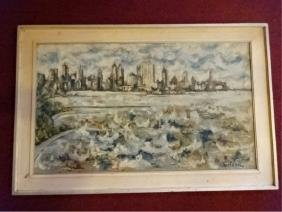 CITYSCAPE PAINTING ON CANVAS, CIRCA 1960's, SIGNED