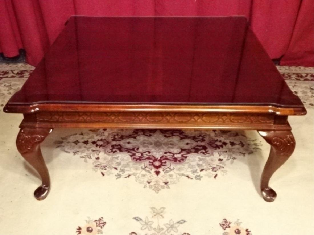 QUEEN ANNE STYLE COFFEE TABLE, DARK FINISH SQUARE TOP
