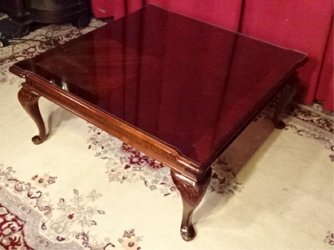 QUEEN ANNE STYLE COFFEE TABLE, DARK FINISH SQUARE TOP - 4