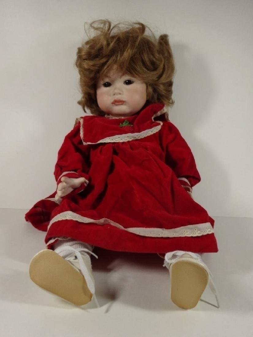 LARGE PORCELAIN DOLL IN RED DRESS, MARKED SFBJ 252
